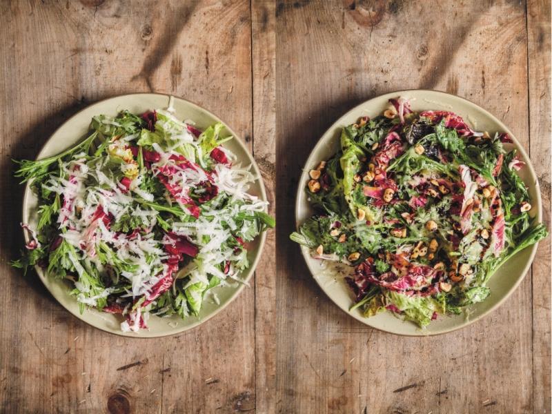 Groen-rode salade met gesmolten kaas uit Zes Seizoenen